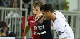 Suso and Nicolò Barella during Cagliari-Milan at Sardegna Arena on September 16, 2018. (Photo by Enrico Locci/Getty Images)
