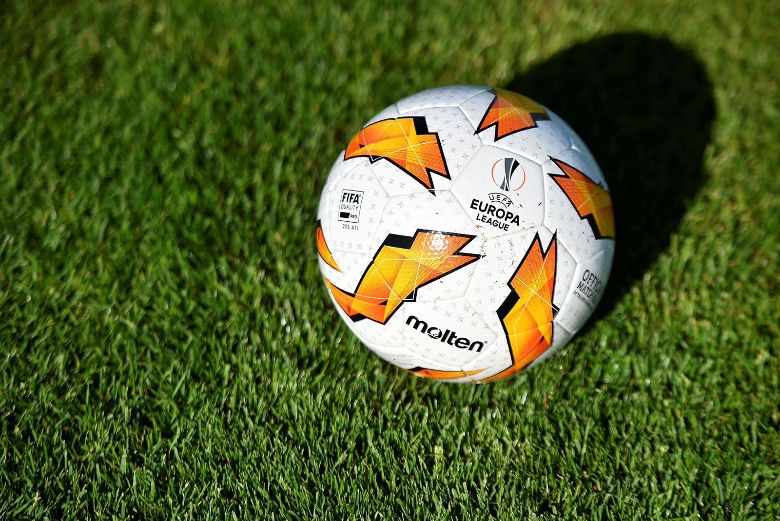 A UEFA Europa League football on the field during F91 Dudelange training session at Stade Aloyse Meyer on September 17, 2018. (JEAN-CHRISTOPHE VERHAEGEN/AFP/Getty Images)