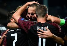 Gonzalo Higuain, Fabio Borini and Samu Castillejo celebrating during Dudelange-Milan at Stade Josy Barthel on September 20, 2018. (JOHN THYS/AFP/Getty Images)