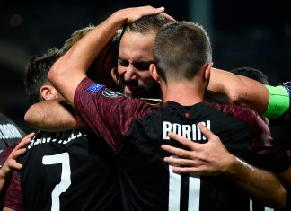 Gonzalo Higuain, Fabio Borini and Samu Castillejo celebrating during Dudelange-Milan at Stade Josy Barthel on September 20, 2018. (JOHN THYS/AFP/Getty Images)