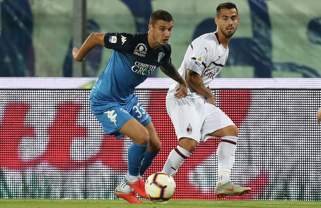Suso and Rade Krunić during Empoli-Milan at Stadio Carlo Castellani on September 27, 2018. (Photo by Gabriele Maltinti/Getty Images)