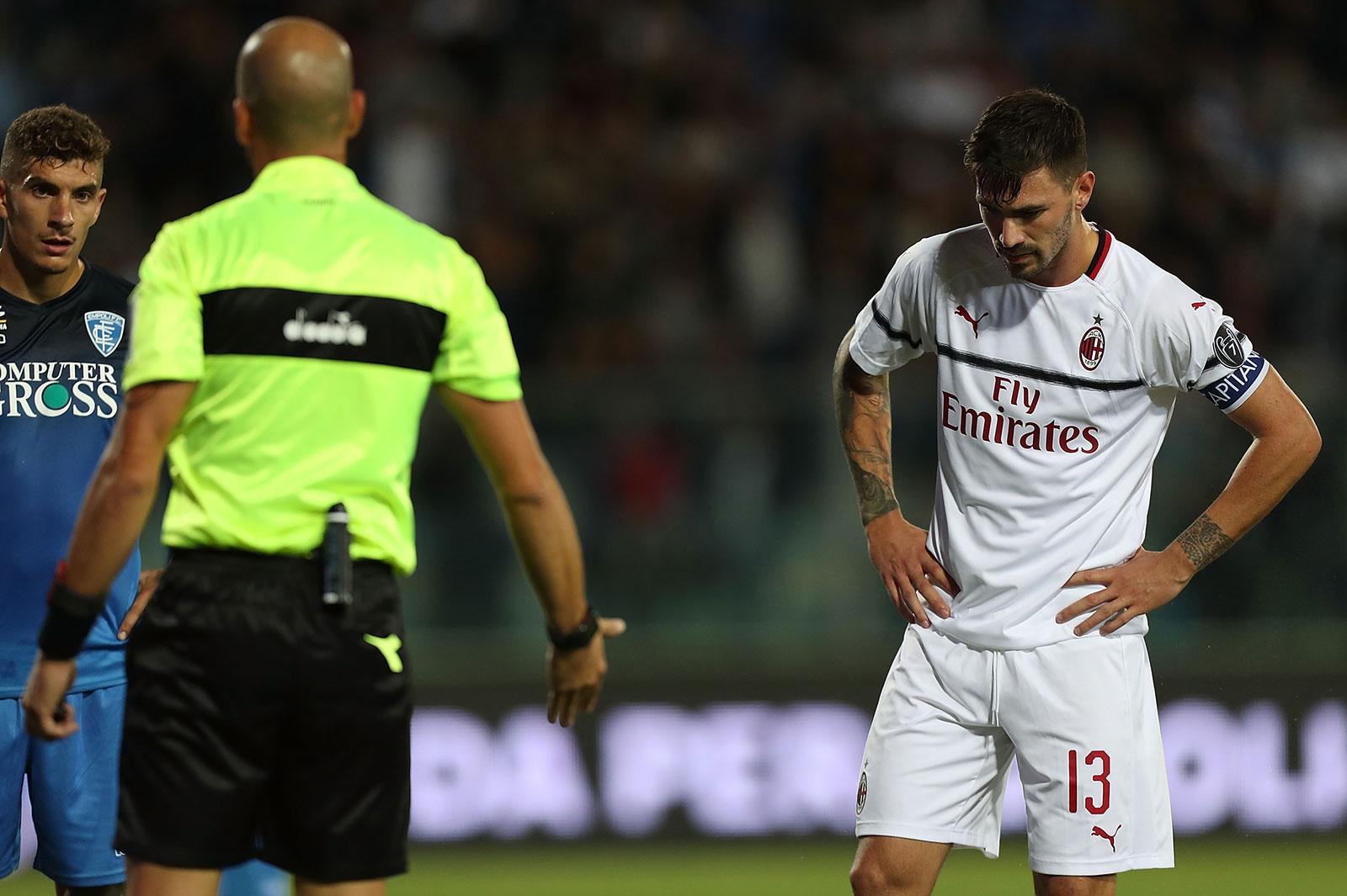 Alessio Romagnoli during Empoli-Milan at Stadio Carlo Castellani on September 27, 2018. (Photo by Gabriele Maltinti/Getty Images)