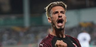 Samu Castillejo celebrating during Dudelange-Milan at Stade Josy Barthel on September 20, 2018. (@acmilan.com)