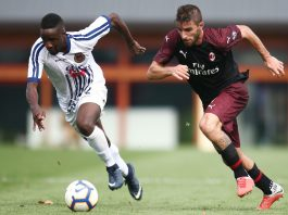 Fabio Borini during Milan-Pro Piacenza at training center Milanello on September 8, 2018. (@acmilan.com)