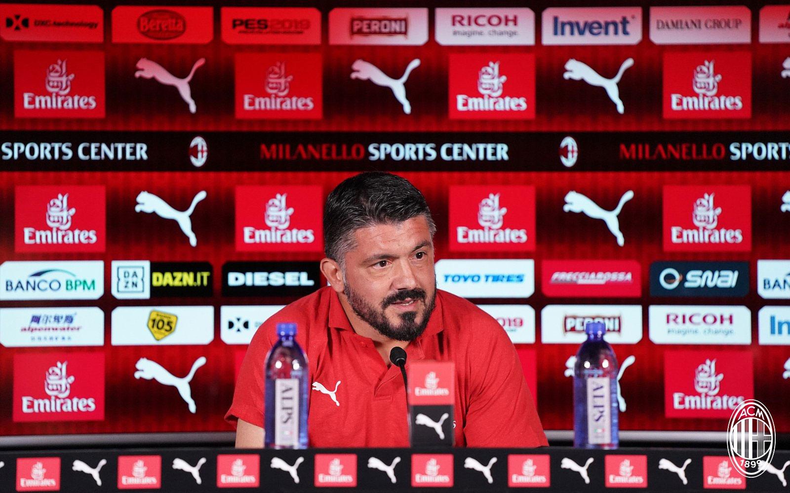 Gennaro Gattuso during a press conference at training center Milanello. (@acmilan.com)