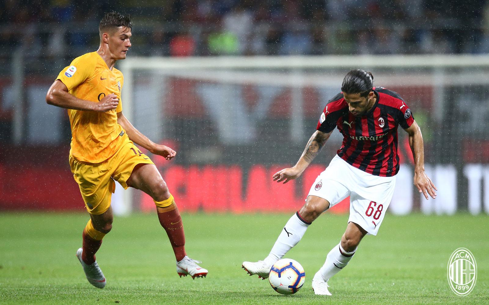 Ricardo Rodriguez and Patrik Schick during Milan-Roma at Stadio San Siro on August 31, 2018. (@acmilan.com)