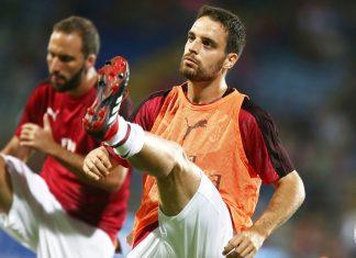 Giacomo Bonaventura before Cagliari-Milan at Sardegna Arena on September 16, 2018. (@acmilan.com)