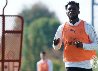 Franck Kessié during training at Milanello. (@acmilan.com)