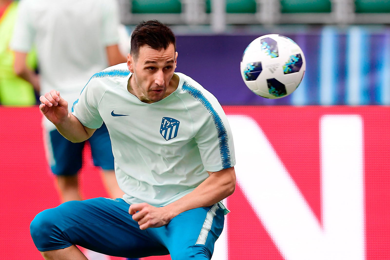 Nikola Kalinić during training at A. Le Coq Arena on August 14, 2018. (AVIER SORIANO/AFP/Getty Images)