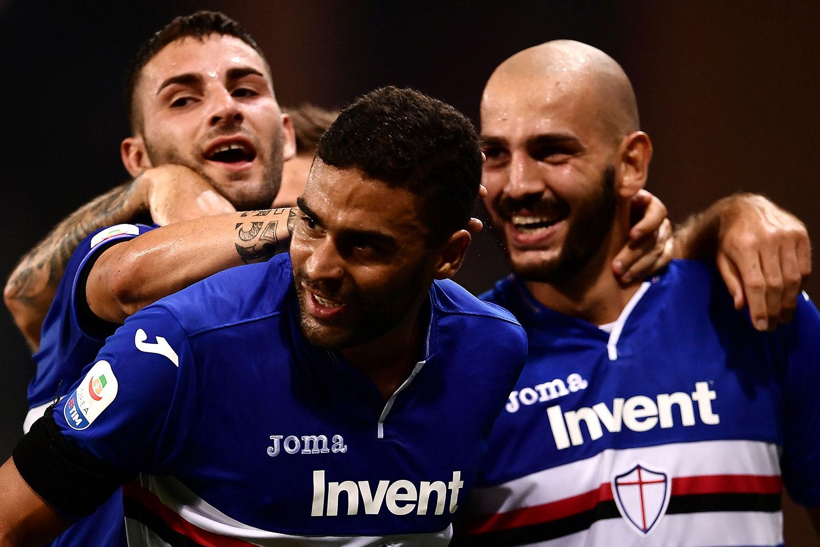 Grégoire Defrel celebrating during Sampdoria-Napoli at Stadio Luigi Ferraris on September 2, 2018. (Photo by Paolo Rattini/Getty Images)