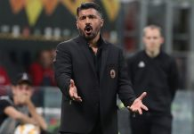 Gennaro Gattuso during Milan-Olympiacos at Stadio San Siro on October 4, 2018. (Photo by Marco Luzzani/Getty Images)