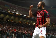 Gonzalo Higuaín celebrating during Milan-Olympiacos at Stadio San Siro on October 4, 2018. (Photo by Marco Luzzani/Getty Images)