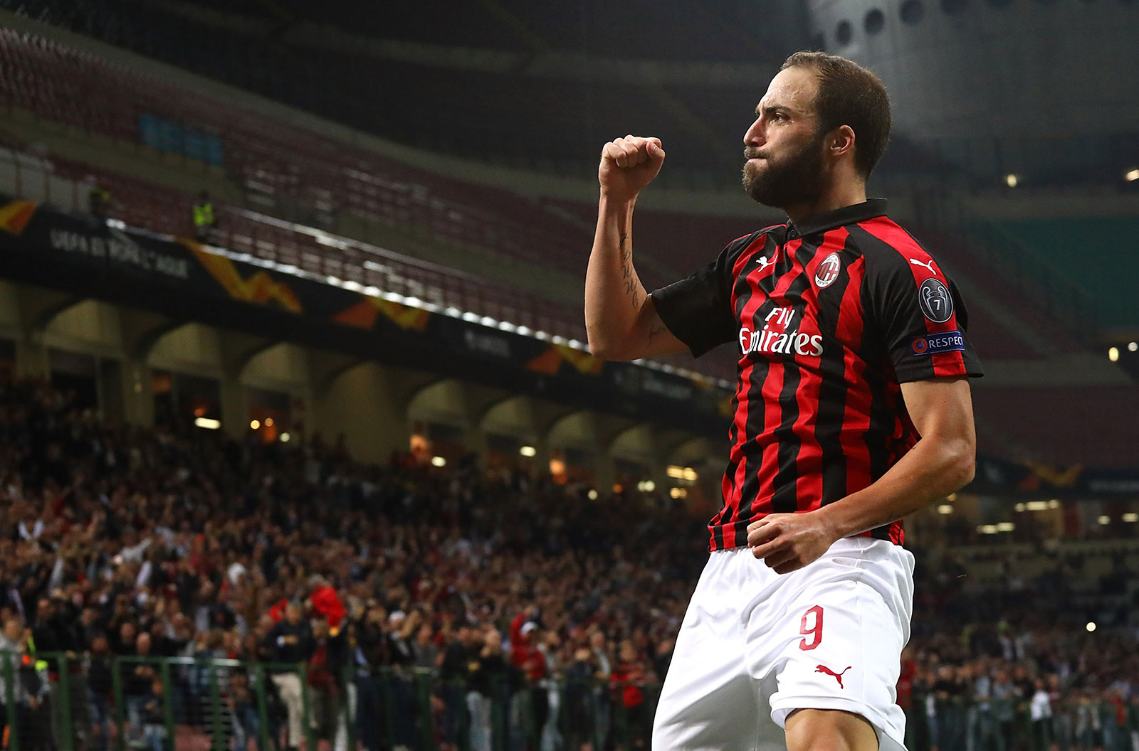 Gonzalo Higuaín celebrating during Milan-Olympiacos at Stadio San Siro on  October 4 22569fa67