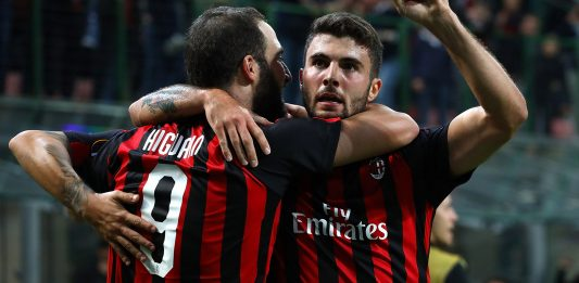 Gonzalo Higuain and Patrick Cutrone celebrating during Milan-Olympiacos at Stadio San Siro on October 4, 2018. (Photo by Marco Luzzani/Getty Images)