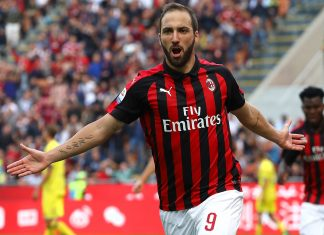 Gonzalo Higuain celebrating during Milan-Chievo at Stadio San Siro on October 7, 2018. (Photo by Marco Luzzani/Getty Images)