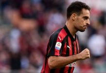 Giacomo Bonaventura celebrating during Milan-Chievo at Stadio San Siro on October 7, 2018. (MARCO BERTORELLO/AFP/Getty Images)