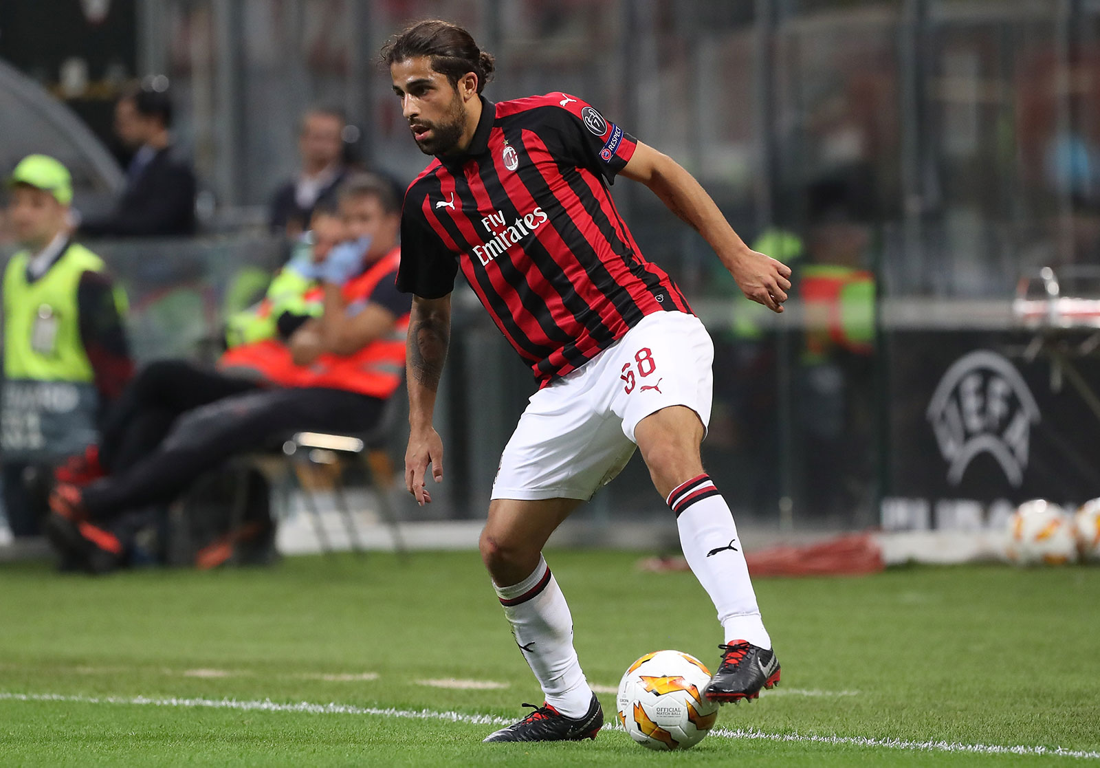 Riccardo Rodriguez during Milan-Olympiacos at Stadio San Siro on October 4, 2018. (Photo by Marco Luzzani/Getty Images)