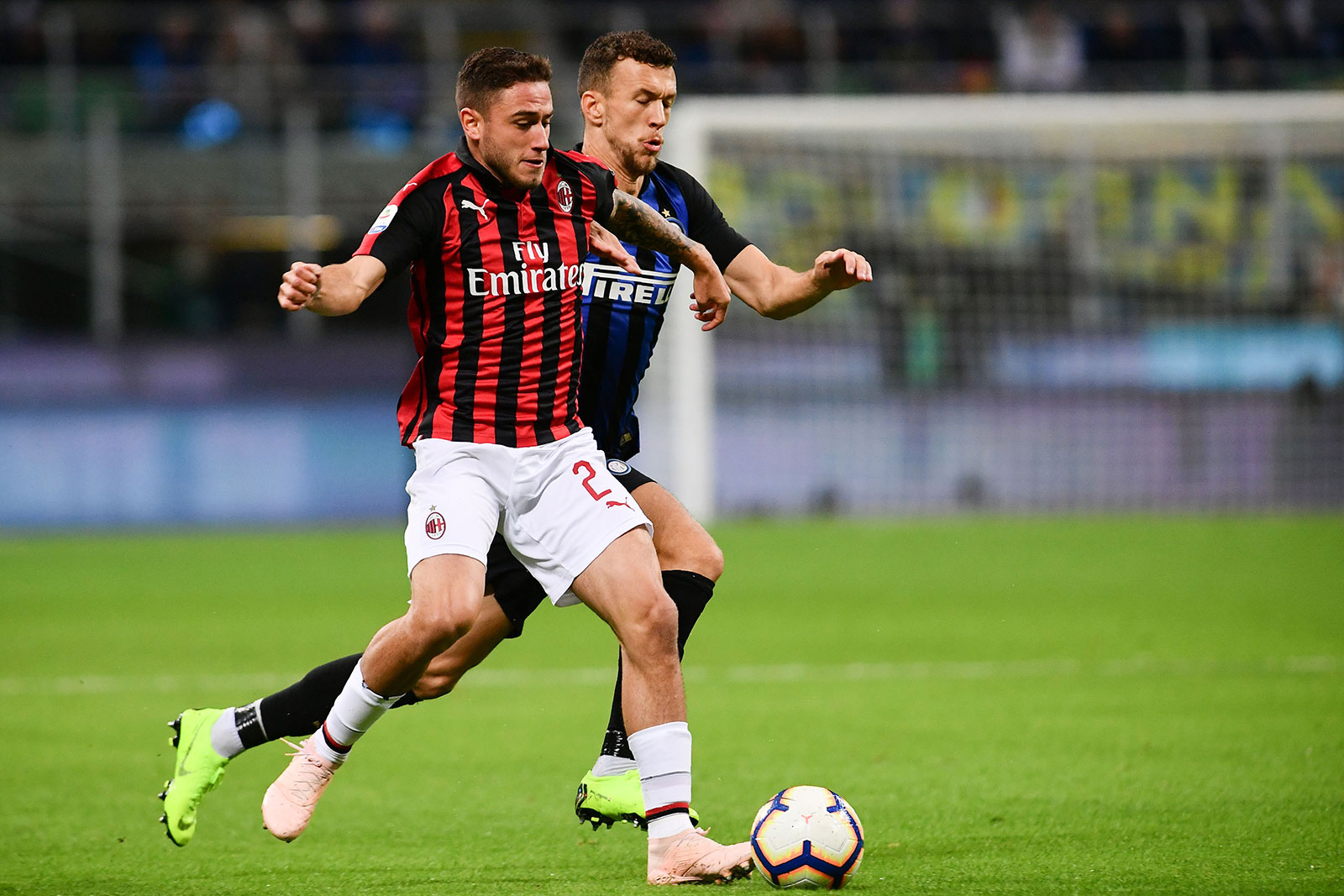 Davide Calabria and Ivan Perišić during Inter-Milan at Stadio San Siro on October 21, 2018. (MARCO BERTORELLO/AFP/Getty Images)