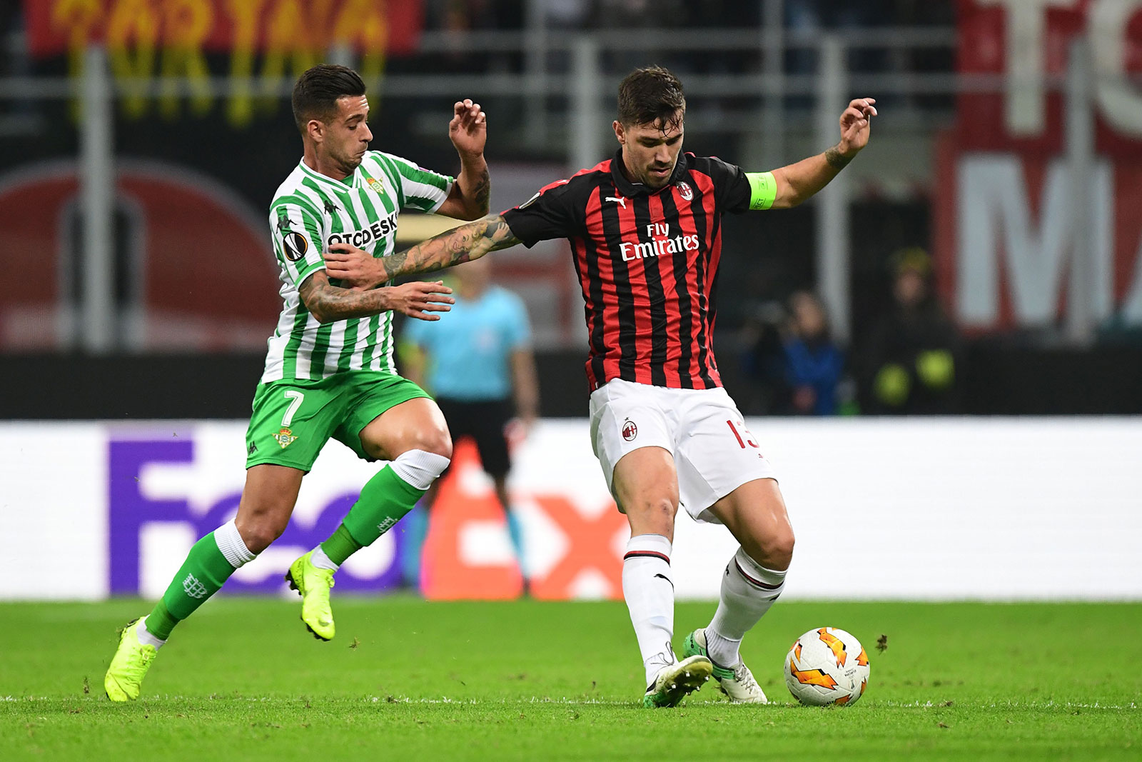 Alessio Romagnoli during Milan-Real Betis at Stadio San Siro on October 25, 2018. (MIGUEL MEDINA/AFP/Getty Images)