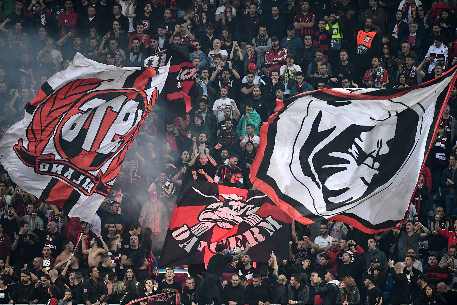 Milan fans during Milan-Real Betis at Stadio San Siro on October 25, 2018. (MIGUEL MEDINA/AFP/Getty Images)