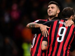 Patrick Cutrone, Gonzalo Higuain and Suso celebrating during Milan-Sampdoria at Stadio San Siro on October 28, 2018. (MARCO BERTORELLO/AFP/Getty Images)