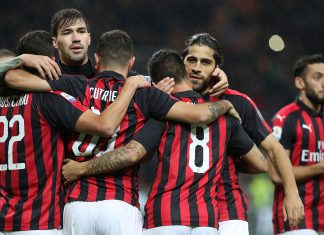 Mateo Musacchio, Alessio Romagnoli, Patrick Cutrone, Suso and Ricardo Rodriguez celebrating during Milan-Genoa at Stadio San Siro on October 31, 2018. (Photo by Marco Luzzani/Getty Images)