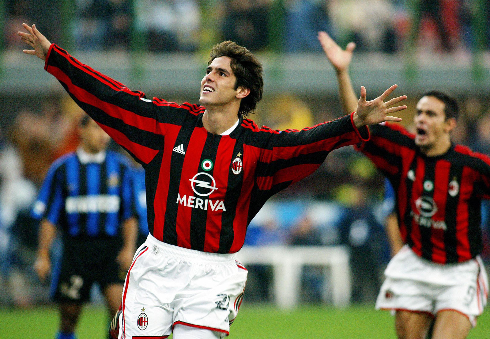 Kaká celebrating during Milan-Inter at Stadio San Siro on October 5, 2003. (PATRICK HERTZOG/AFP/Getty Images)