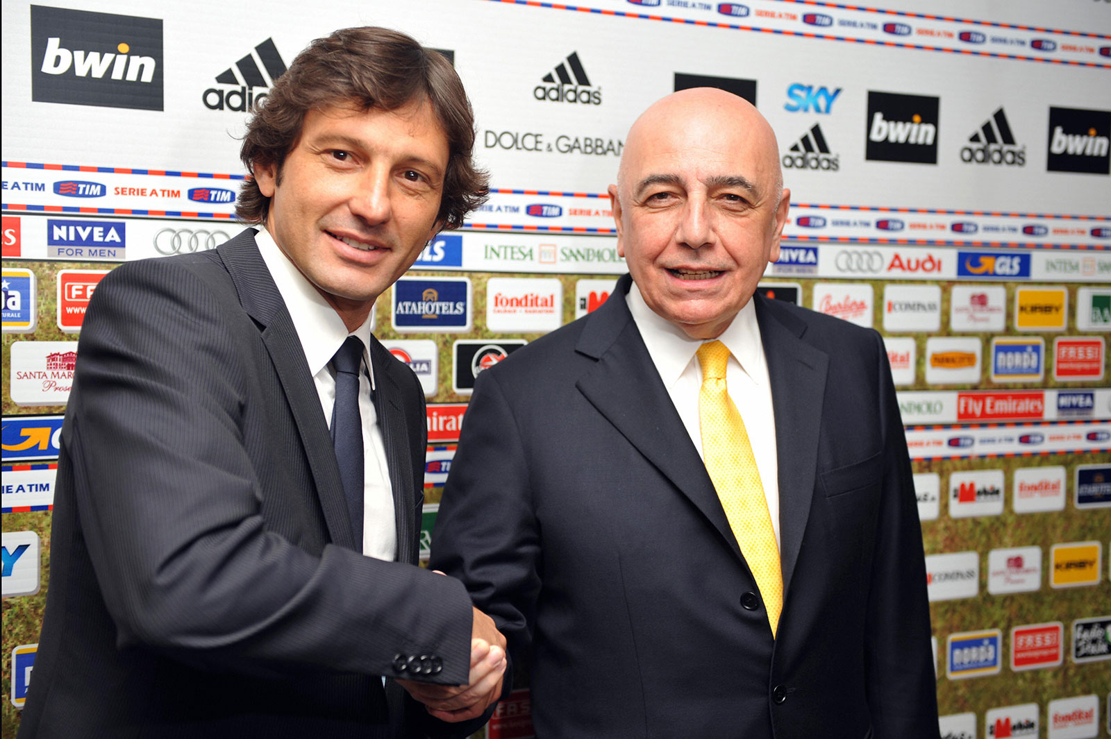 Leonardo and Adriano Galliani at Stadio San Siro on June 1, 2009. (GIUSEPPE CACACE/AFP/Getty Images)