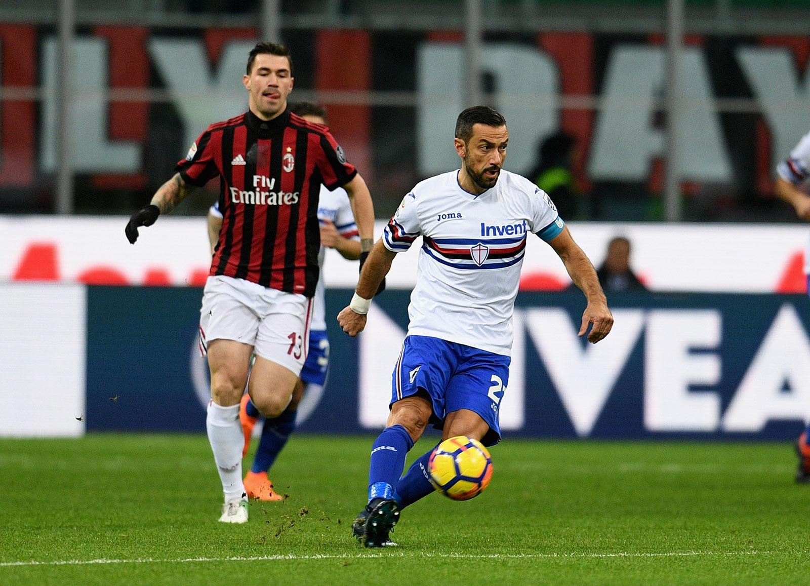Fabio Quagliarella and Alessio Romagnoli during Milan-Sampdoria at Stadio San Siro on February 18, 2018. (Photo by Claudio Villa/Getty Images)