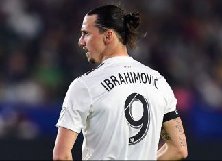 Zlatan Ibrahimović during LA Galaxy-Atlanta United at StubHub Tennis Center on April 21, 2018. (FREDERIC J. BROWN/AFP/Getty Images)