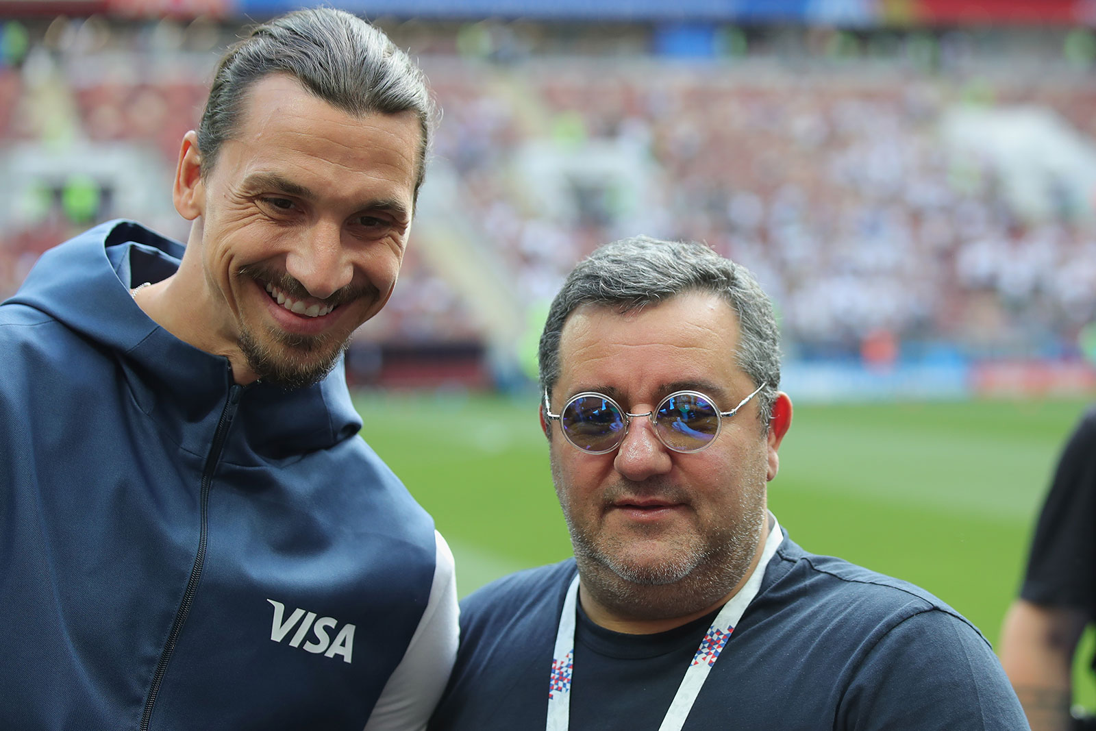 Zlatan Ibrahimović and Mino Raiola before the Germany-Mexico 2018 FIFA World Cup match at Luzhniki Stadium on June 17, 2018. (Photo by Alexander Hassenstein/Getty Images)