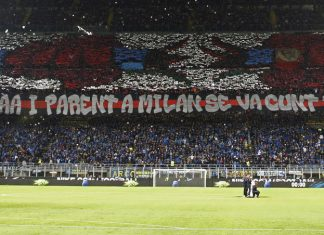 The tifo made by Milan fans during Inter-Milan at Stadio San Siro on October 21, 2018. (@acmilan.com)