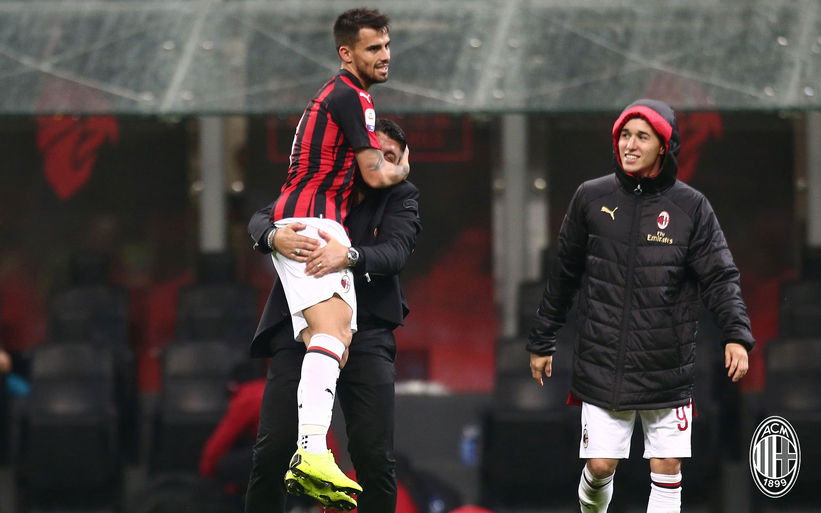 Gennaro Gattuso and Suso celebrating during Milan-Genoa at Stadio San Siro on October 31, 2018. (@acmilan.com)