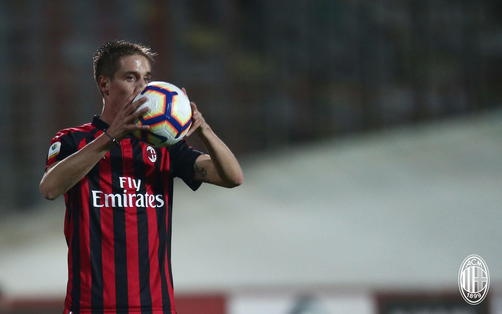 Andrea Conti during Milan Primavera-Chievo Primavera at Stadio Franco Ossola on November 2, 2018. (@acmilan.com)