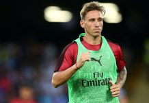 Lucas Biglia before Napoli-Milan at Stadio San Paolo on August 25, 2018. (@acmilan.com)