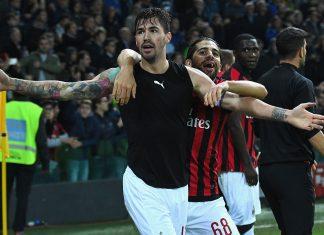 Alessio Romagnoli and Ricardo Rodriguez celebrating during Udinese-Milan at Stadio Friuli on November 4, 2018. (Photo by Alessandro Sabattini/Getty Images)