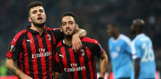 Patrick Cutrone and Hakan Çalhanoğlu celebrating during Milan-Dudelange at Stadio San Siro on November 29, 2018. (Photo by Marco Luzzani/Getty Images)