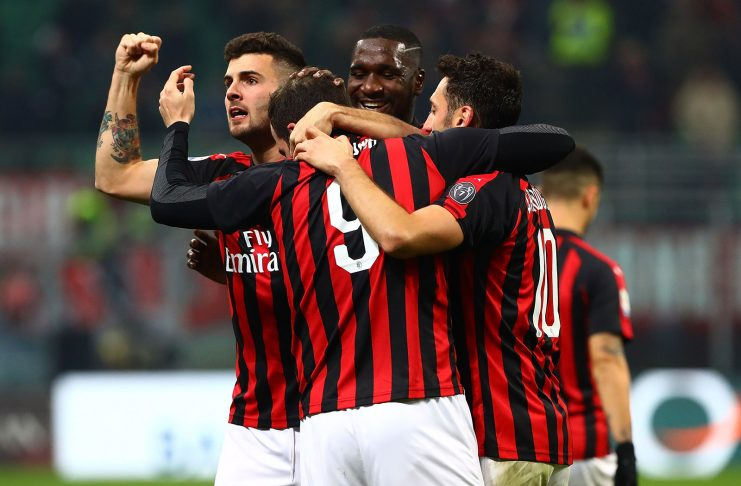 Gonzalo Higuain, Hakan Çalhanoğlu, Cristian Zapata and Patrick Cutrone celebrating during Milan-SPAL at Stadio San Siro on December 29, 2018. (Photo by Marco Luzzani/Getty Images)