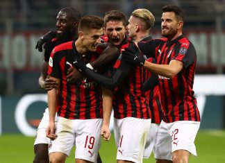 Tiémoué Bakayoko, Krzysztof Piątek, Fabio Borini, Samu Castillejo and Mateo Musacchio celebrating during Milan-Napoli at Stadio San Siro on January 29, 2019. (Photo by Marco Luzzani/Getty Images)