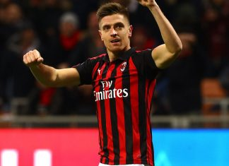 Krzysztof Piątek celebrating during Milan-Napoli at Stadio San Siro on January 29, 2019. (Photo by Marco Luzzani/Getty Images)