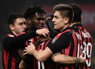 Davide Calabria, Franck Kessié, Suso, Krzysztof Piątek and Lucas Paquetá celebrating during Milan-Cagliari at Stadio San Siro on February 10, 2019. (MARCO BERTORELLO/AFP/Getty Images)