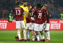 Alessio Romagnoli, Gianluigi Donnarumma, Andrea Conti, Mateo Musacchio, Franck Kessié, Ricardo Rodriguez and Samu Castillejo celebrating during Milan-Empoli at Stadio San Siro on February 22, 2019. (Photo by Marco Luzzani/Getty Images)