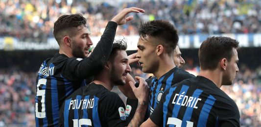 Roberto Gagliardini, Matteo Politano, Lautaro Martínez and Cédric Soares celebrating during Inter-SPAL at Stadio San Siro on March 10, 2019. (Photo by Emilio Andreoli/Getty Images)