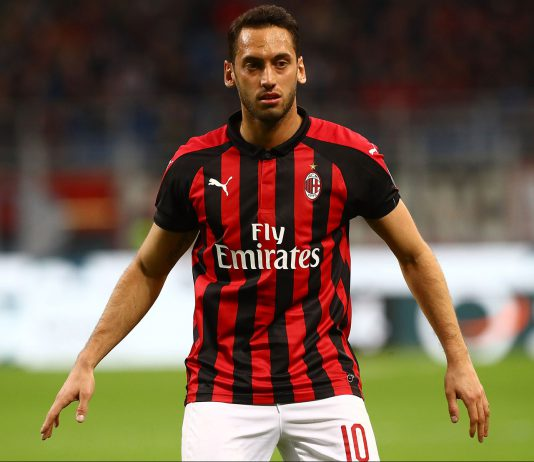 Hakan Çalhanoğlu during Milan-Sassuolo at Stadio San Siro on March 2, 2019. (Photo by Marco Luzzani/Getty Images)
