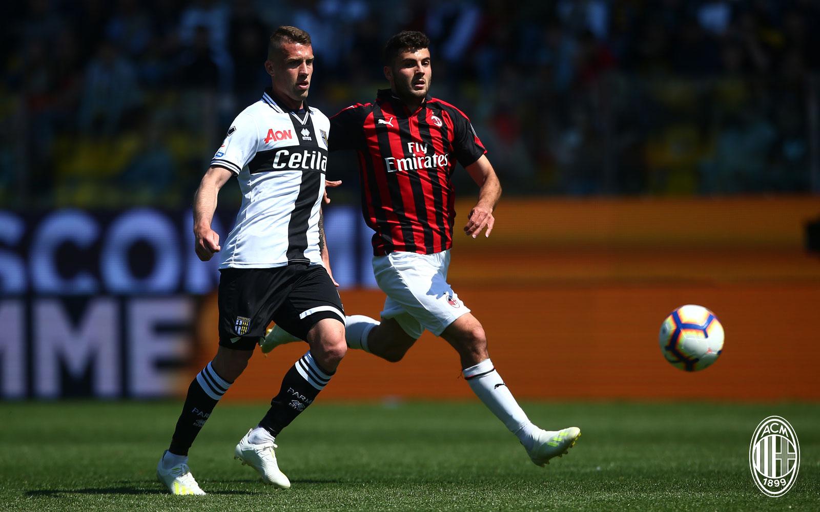 Patrick Cutrone during Parma-Milan at Stadio Ennio Tardini on April 20, 2019. (@acmilan.com)