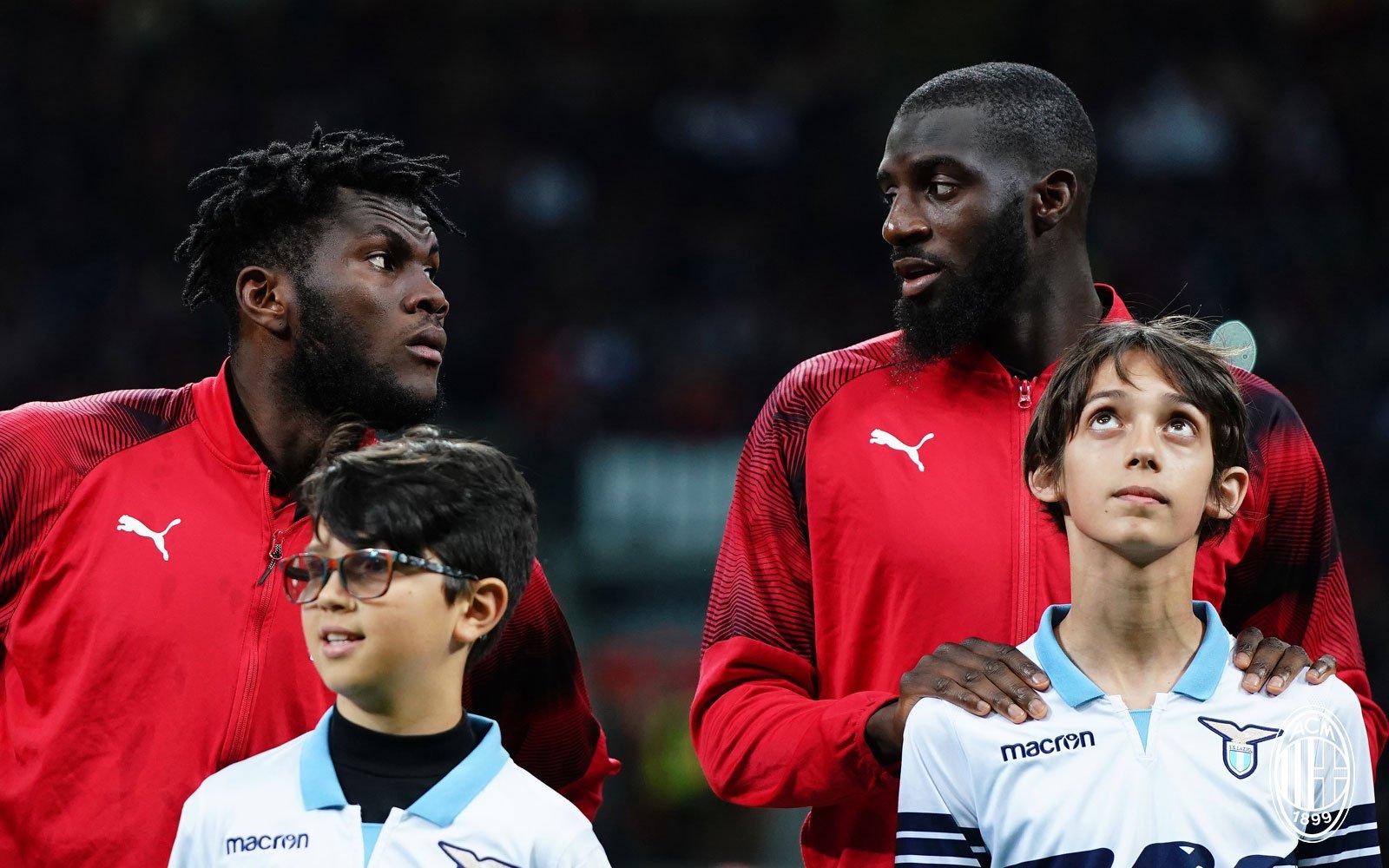 Tiémoué Bakayoko and Franck Kessié before Milan-Lazio at Stadio San Siro on April 24, 2019. (@acmilan.com)