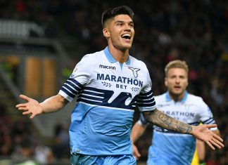 Joaquín Correa celebrating during Milan-Lazio at Stadio San Siro on April 24, 2019. (Photo by Marco Rosi/Getty Images)