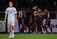 Torino players celebrating during Torino-Milan at Stadio Olimpico Grande Torino on April 28, 2019. (MARCO BERTORELLO/AFP/Getty Images)