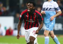Franck Kessié celebrating during Milan-Lazio at Stadio San Siro on April 13, 2019. (@acmilan.com)
