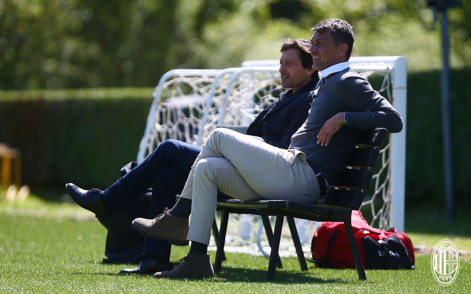 Leonardo and Paolo Maldini during training at Milanello. (@acmilan.com)